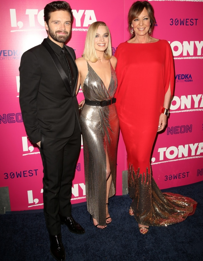"""Margot Robbie with co-stars Sebastian Stan and Allison Janney at the """"I, Tonya"""" Los Angeles premiere"""
