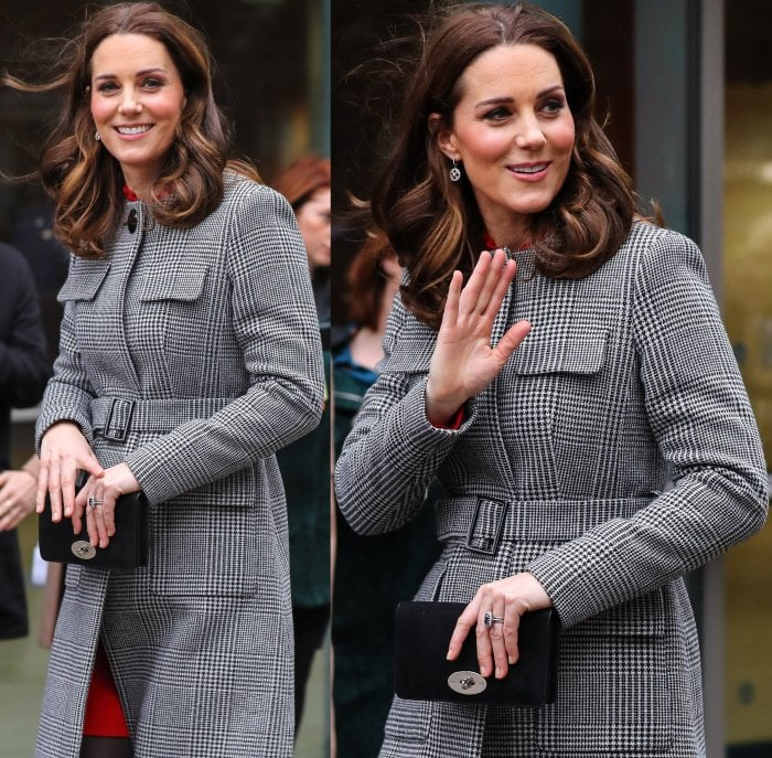 Kate Middleton capped off her look with tousled waves and minimal makeup