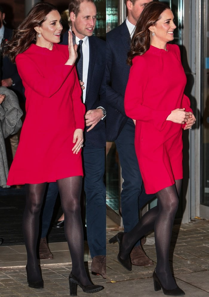 "Kate Middleton flaunts her sexy legs in a bright red ""Elodie"" tunic dress from Goat"