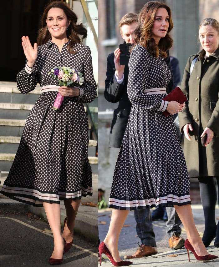 Kate Middleton wearing a Kate Spade New York Resort 2018 dress and Gianvito Rossi 105 suede pumps while visiting the Foundling Museum in London
