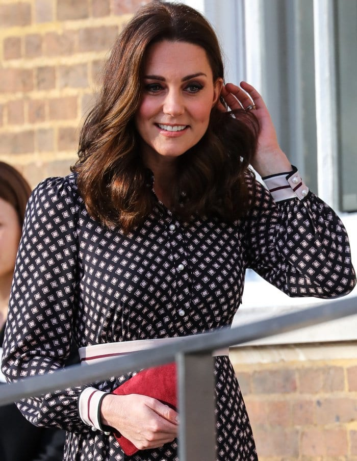 Kate Middleton wearing a Kate Spade New York Resort 2018 dress while visiting the Foundling Museum in London