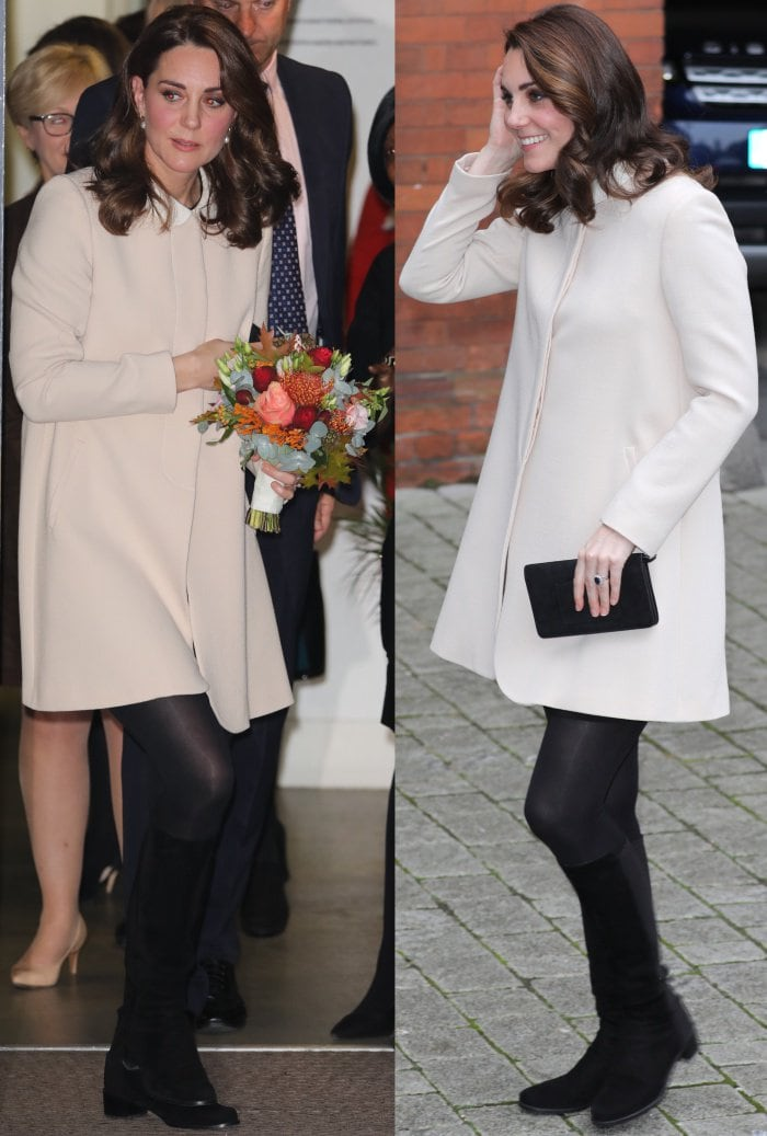 "Kate Middleton in black tights totes a Mulberry ""Bayswater"" clutch"