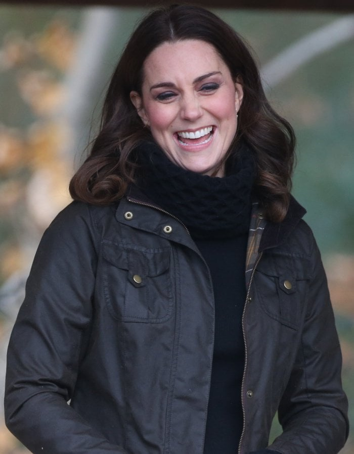 "Kate Middleton wearing the Barbour ""Ashley"" jacket"