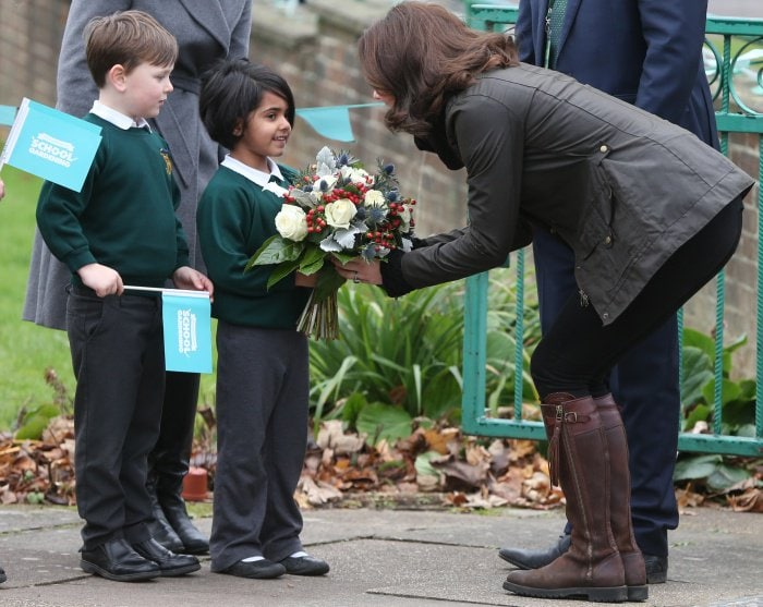 Kate Middleton visiting the Robin Hood Primary School in London on November 29, 2017