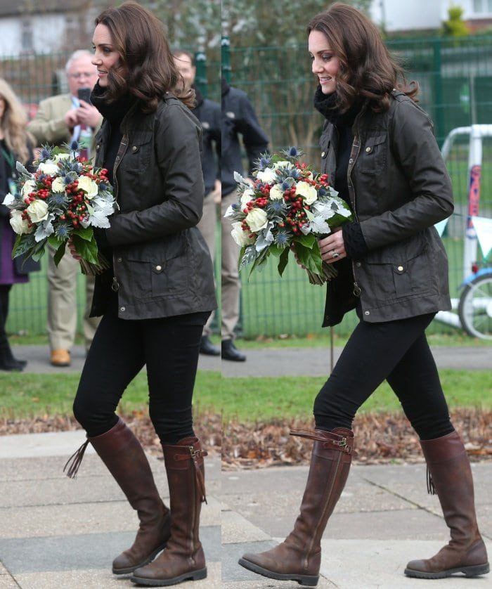 Kate Middleton rocks a Temperley London Honeycomb sweater and black skinny jeans