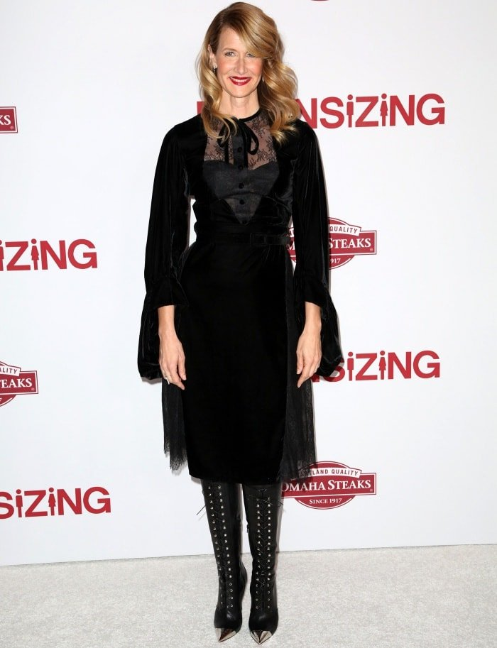 "Laura Dern wearing a Vassilis Zoulias Fall 2017 dress and Christian Louboutin boots at the ""Downsizing"" special screening in Los Angeles"