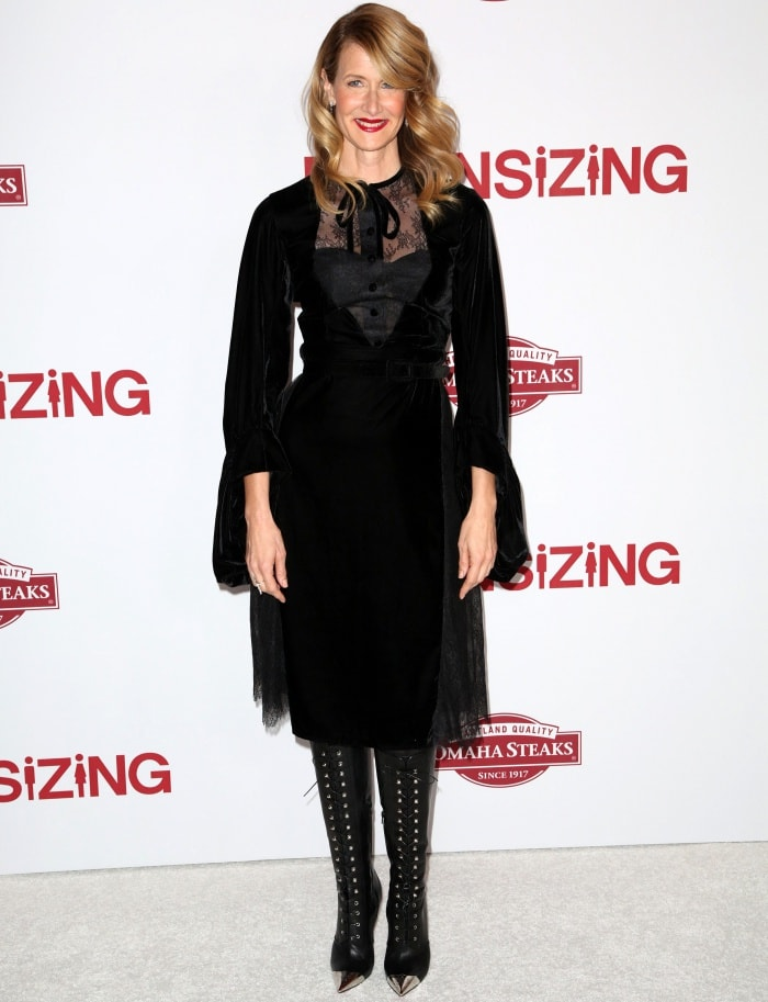 """Laura Dern wearing a Vassilis Zoulias Fall 2017 dress and Christian Louboutin boots at the """"Downsizing"""" special screening in Los Angeles"""