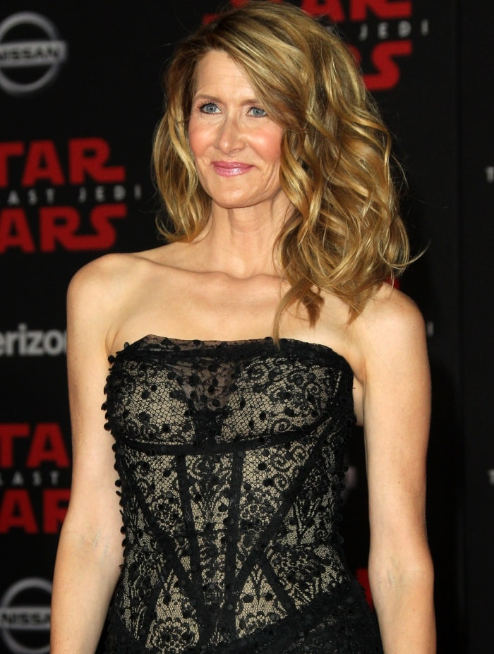 """Laura Dern wearing a Vivienne Westwood Couture gown at the """"Star Wars: The Last Jedi"""" Los Angeles premiere"""