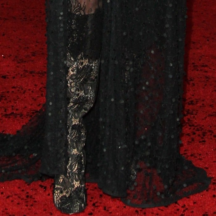 """Laura Dern wearing Christian Louboutin boots at the """"Star Wars: The Last Jedi"""" Los Angeles premiere"""