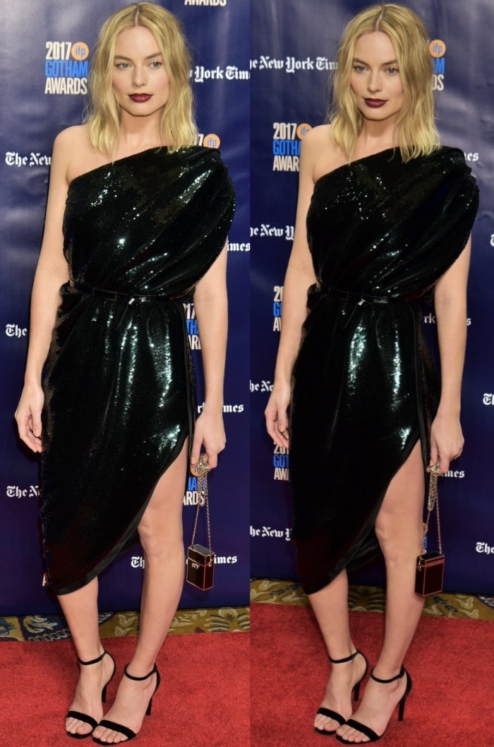 Margot Robbie wearing head-to-toe Saint Laurent at the 2017 Gotham Independent Film Awards