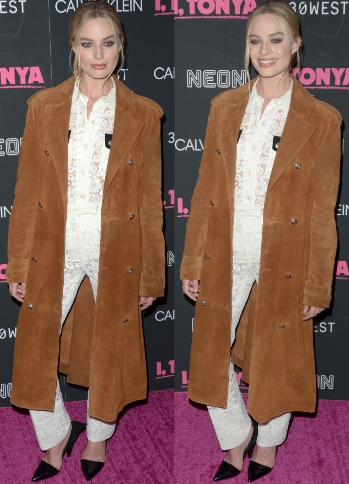"Margot Robbie wearing head-to-toe Calvin Klein 205W39NYC at the ""I, Tonya"" screening in New York City"