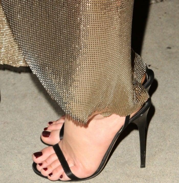 "Margot Robbie showing off her feet in Jimmy Choo ""Minny"" sandals"