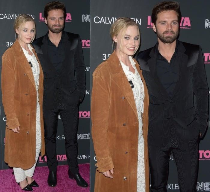 "Margot Robbie with Sebastian Stan at the ""I, Tonya"" screening in New York City"