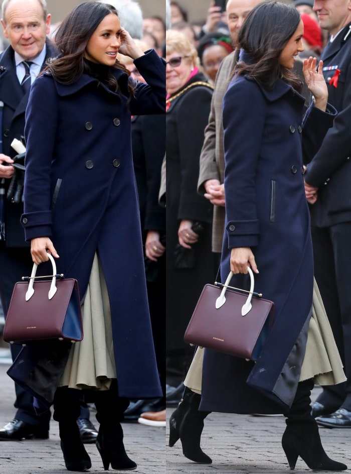 "Meghan Markle wearing a Mackage coat, a Wolford turtleneck, a Joseph midi skirt, and KG Kurt Geiger ""Violet"" over-the-knee boots during the Terrence Higgins Trust World AIDS Day event"