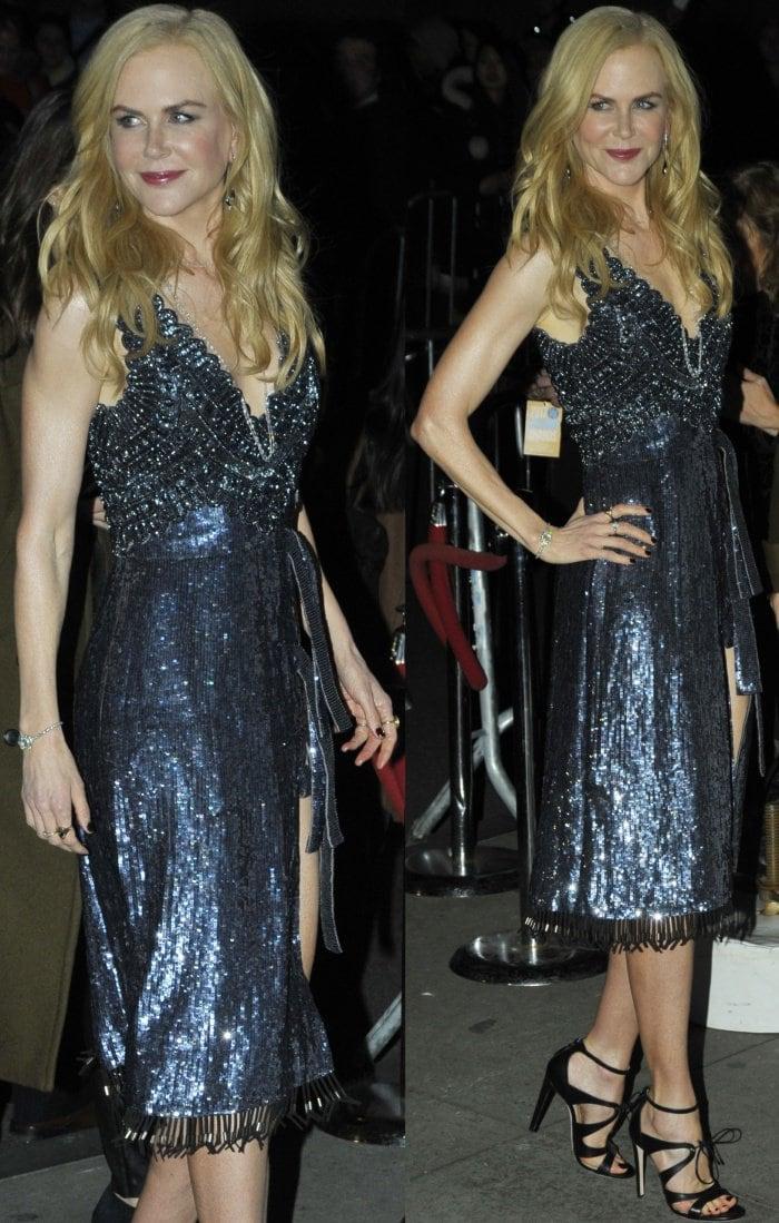 "Nicole Kidman wearing an Altuzarra Spring 2018 dress and Chloe Gosselin ""Bryonia"" sandals at the 2017 Gotham Independent Film Awards"