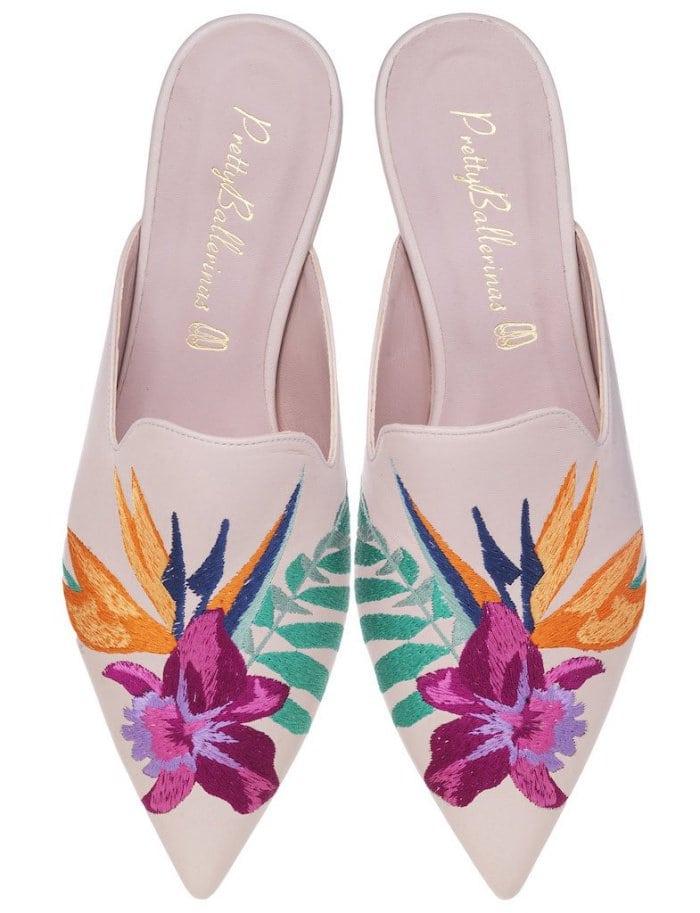"Pretty Ballerinas ""Ella"" embroidered flower mules"