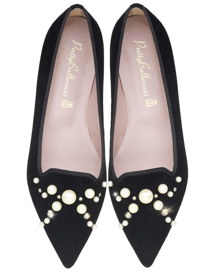 "Pretty Ballerinas ""Ella"" black suede loafers with diamonds and pearls"