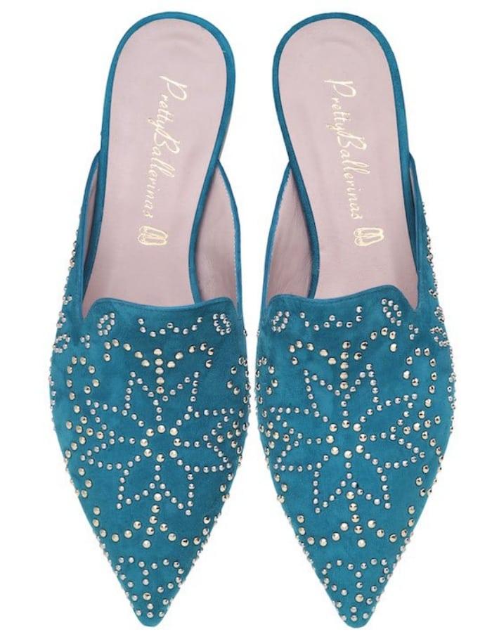 "Pretty Ballerinas ""Ella"" aqua blue studded slides"