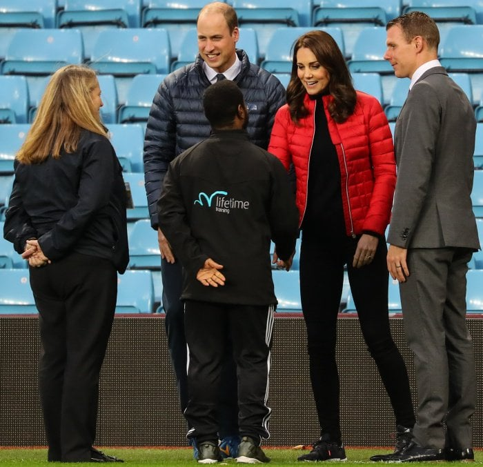 Kate Middleton with Prince William at the Aston Villa Football Club in Birmingham on November 22, 2017
