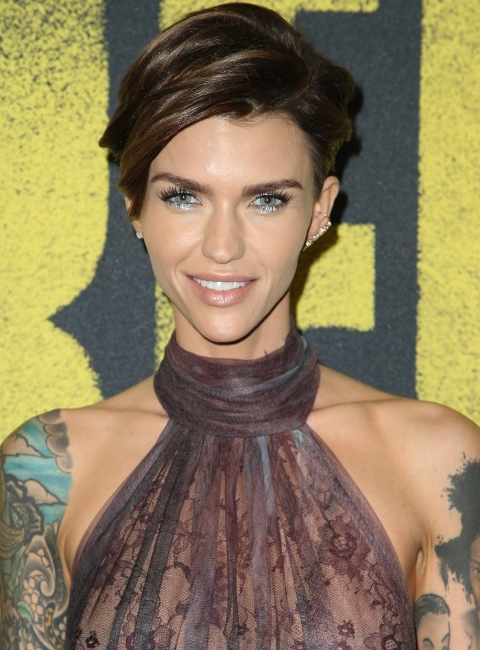 """Ruby Rose wearing an Elie Saab Fall 2017 gown at the """"Pitch Perfect 3"""" premiere"""