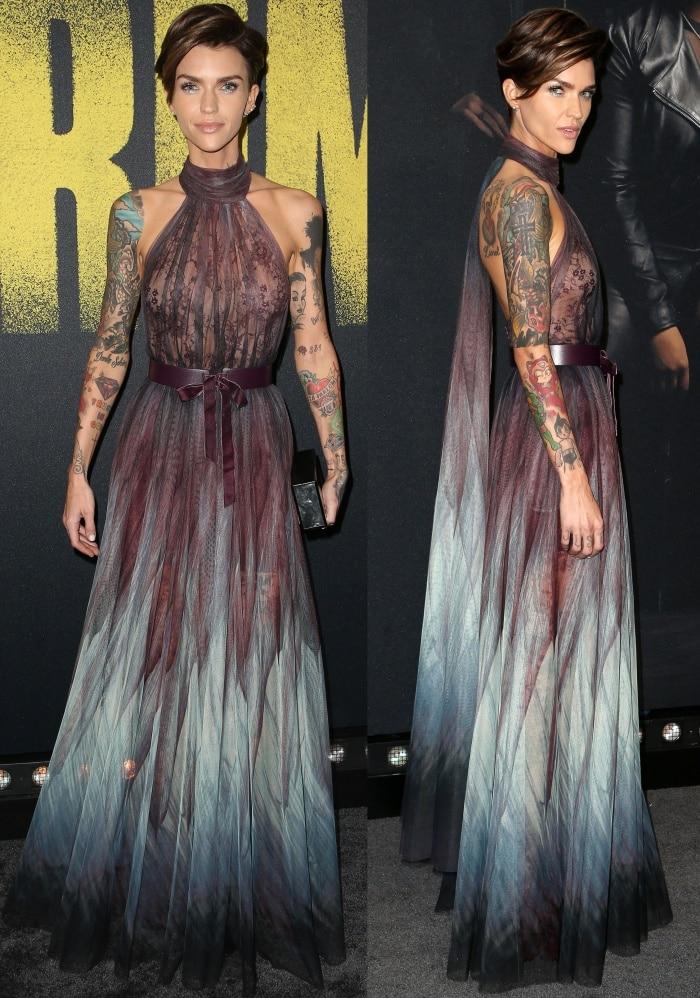 Ruby Rose rocks a multicolored Elie Saab tulle dress