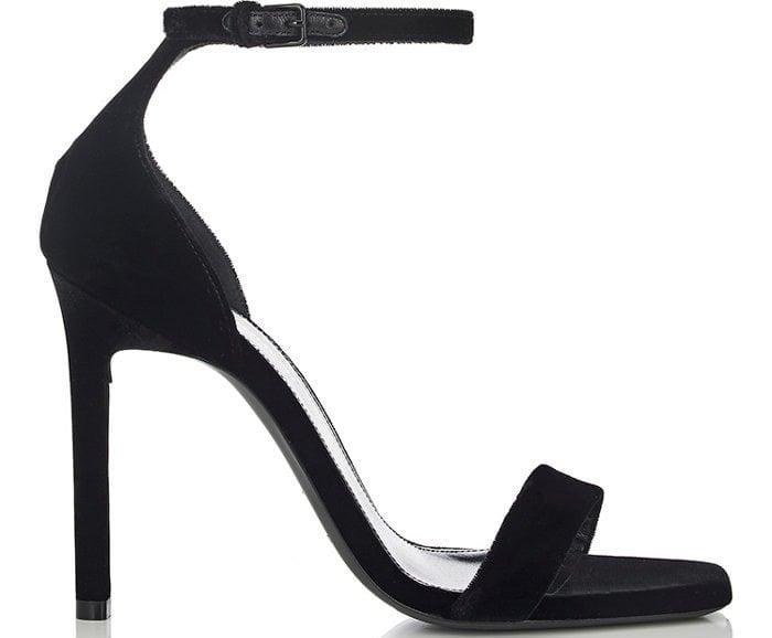 """Saint Laurent """"Amber"""" black velvet sandals"""