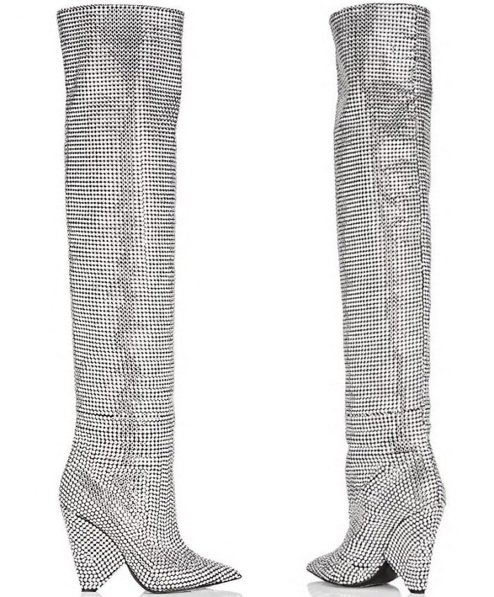 "Saint Laurent ""Niki"" crystal-embellished over-the-knee boots"