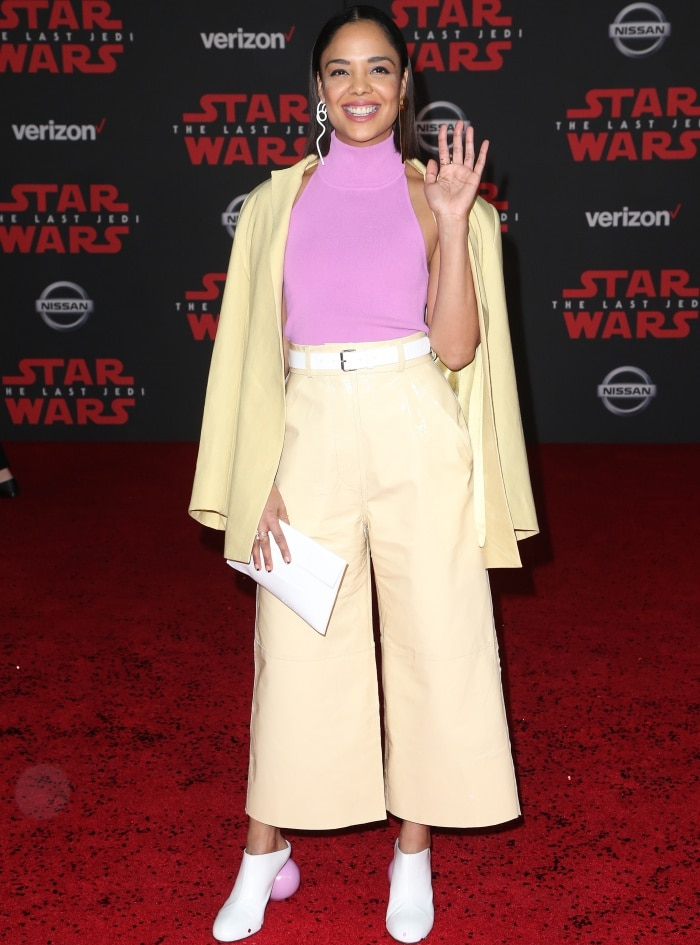 """Tessa Thompson wearing head-to-toe Solace London at the """"Star Wars: The Last Jedi"""" premiere"""