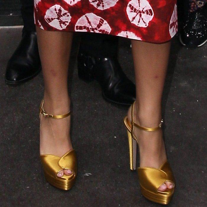 Zendaya wearing Le Silla gold platform sandals at Global Radio in London