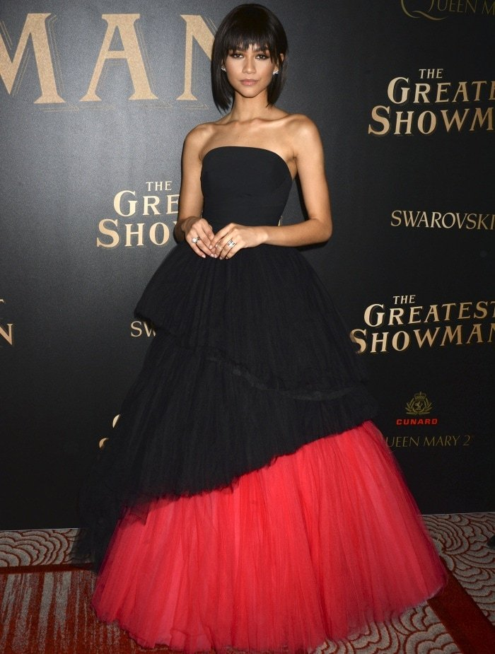 """Zendaya wearing a Viktor & Rolf Spring 2018 ball gown during the world premiere of """"The Greatest Showman"""" aboard the Queen Mary 2 at the Brooklyn Cruise Terminal in New York City"""