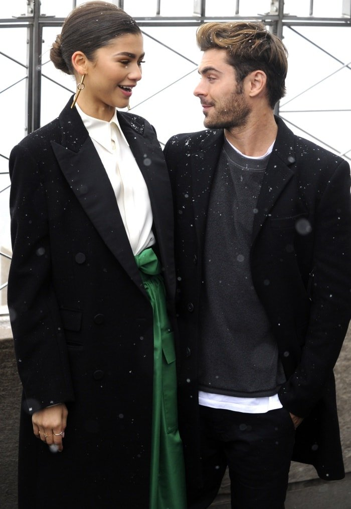 Zendaya with Zac Efron during a lighting ceremony atop the Empire State Building in New York City