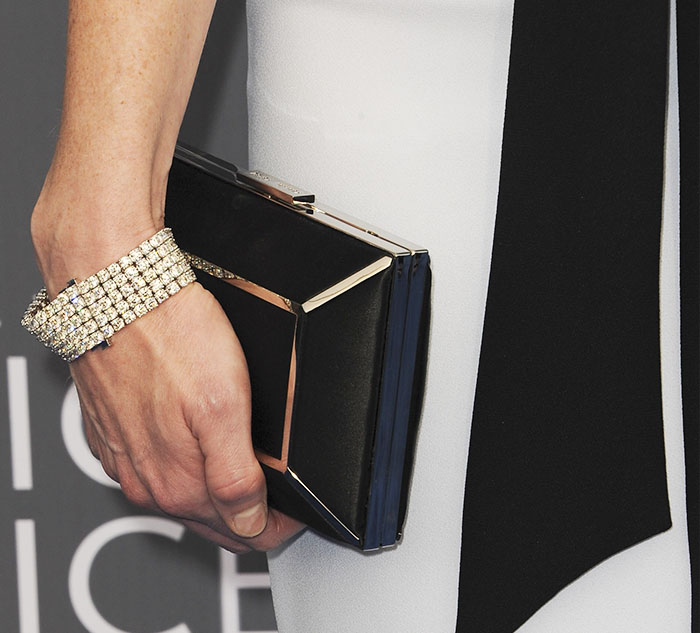 Alexis accessorized with a crystal bracelet from Forevermark USA and a clutch from Yliana Yepez