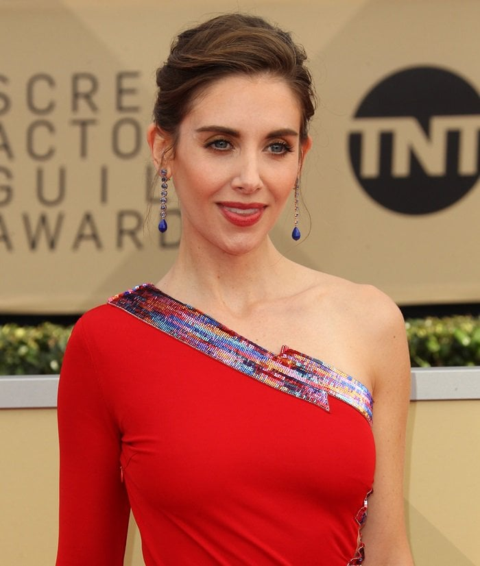 Alison Brie looks ravishing in a Dundas dress at the 2018 SAG Awards at the Shrine Auditorium in Los Angeles on January 21, 2018
