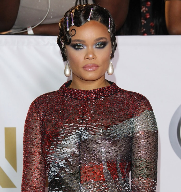 Andra Day in a Giorgio Armani Fall 2017 gown at the 2018 NAACP Image Awards at the Pasadena Civic Auditorium in Pasadena, California, on January 15, 2018