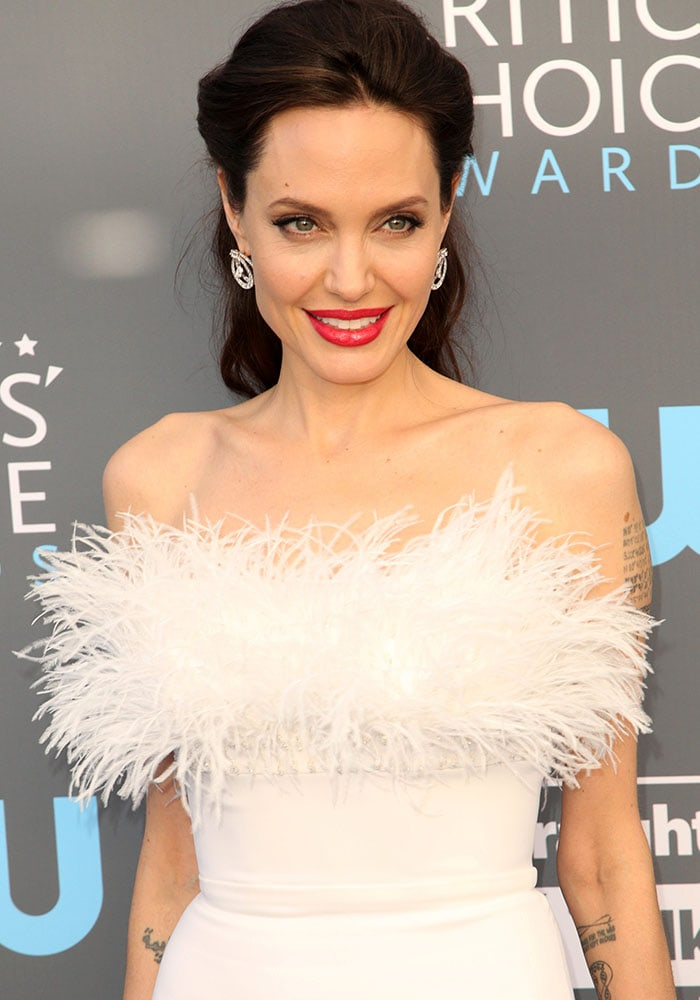 Angelina Jolie attends the 23rd annual Critics' Choice Awards held at the Barker Hangar in Los Angeles