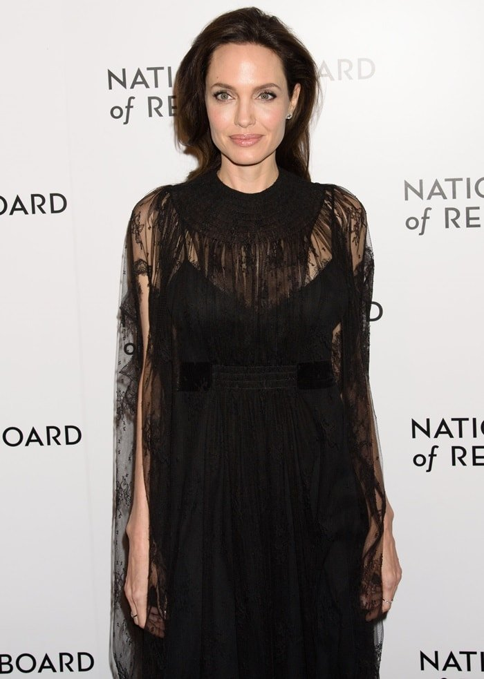 Angelina Jolie wearing a black Valentino gown at the 2018 National Board of Review Awards Gala at Cipriani 42nd Street in New York City on January 9, 2018