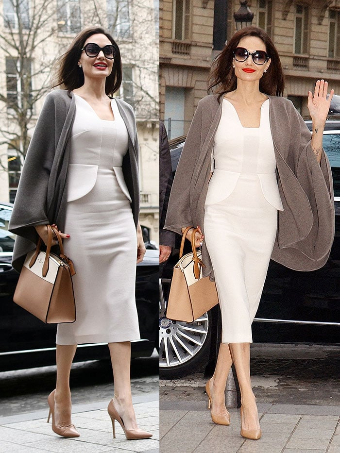 Angelina Jolie looking like the big movie star that she is in an impeccably tailored white Roland Mouret 'Comberton' dress