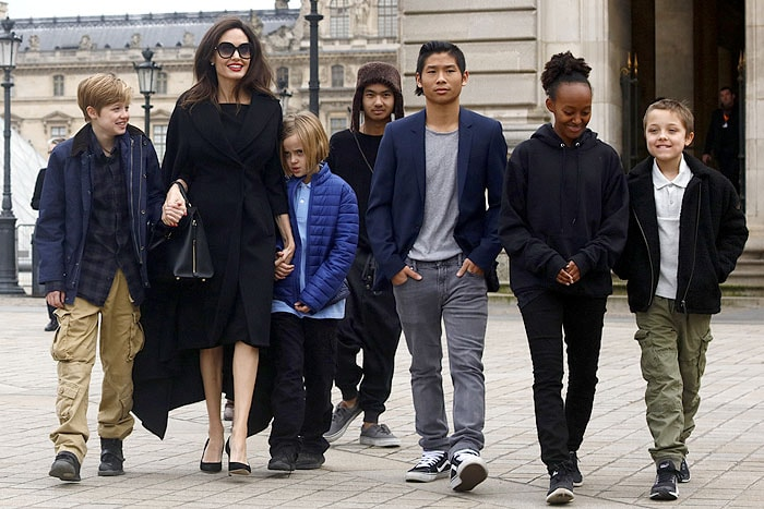 Angelina Jolie with her children Shiloh, Vivienne Marcheline, Maddox, Pax Thien, Zahara Marley, and Knox Leon visit the Louvre in Paris, France, on January 30, 2018.