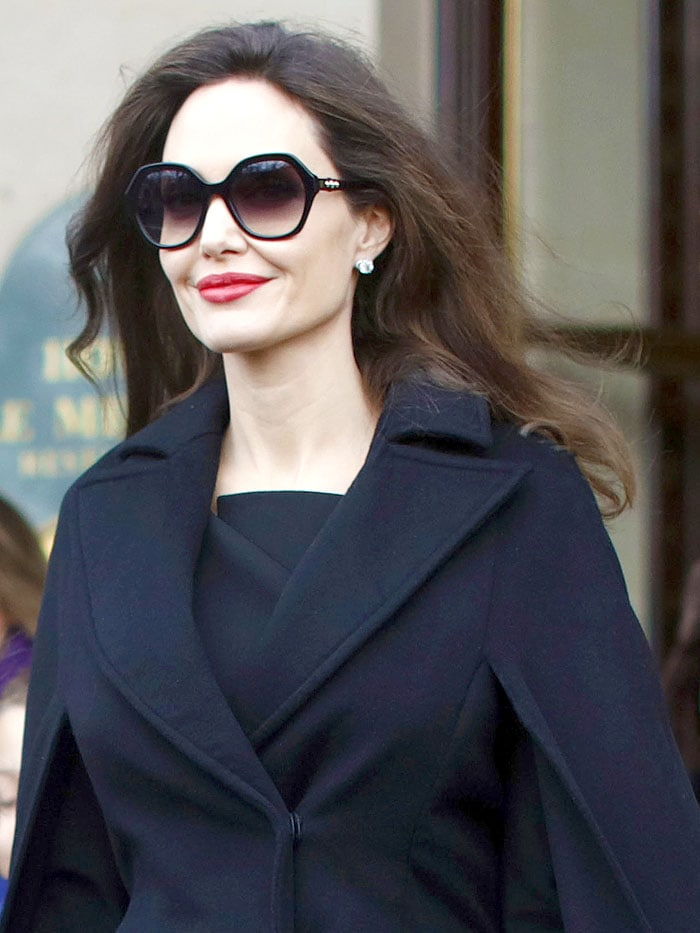 Angelina Jolie wearing her trusty Fendi sunglasses