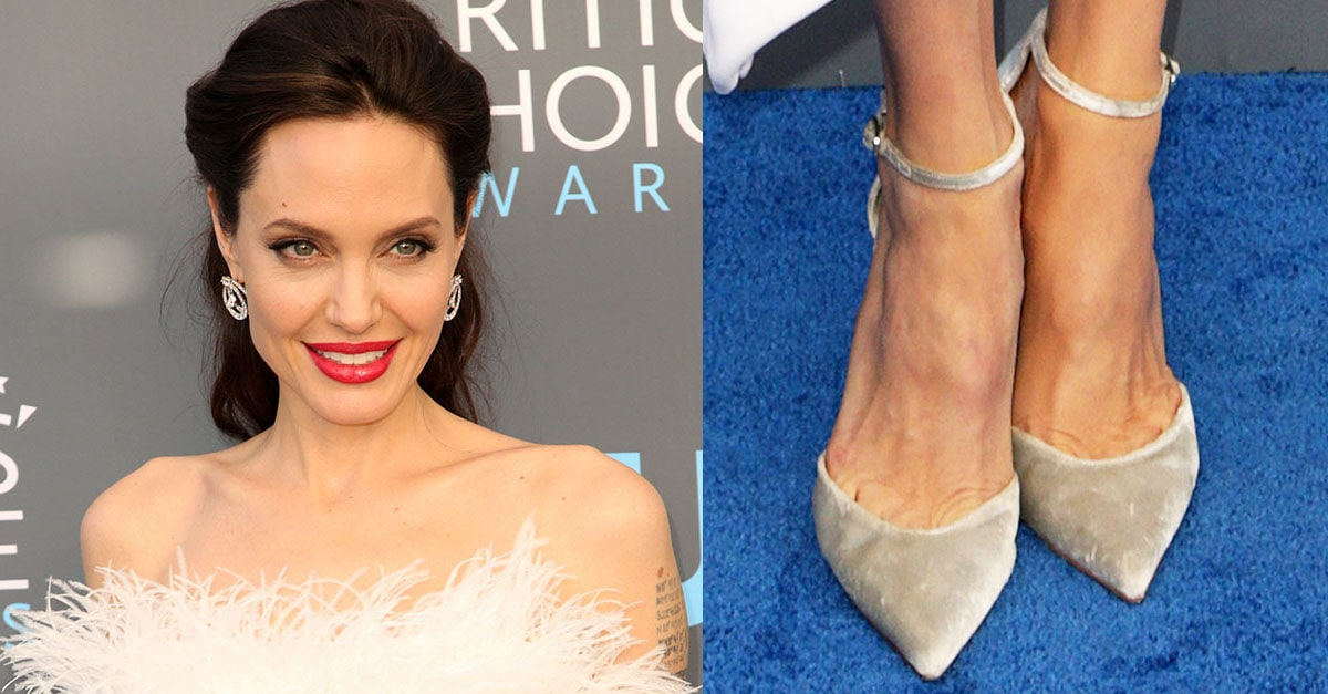 5884acc56a7b Angelina Jolie Attends Critics' Choice Awards in Feather Dress and Stuart  Weitzman 'Candy' Pumps