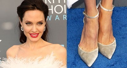 fb781098a9b4 Angelina Jolie Attends Critics  Choice Awards in Feather Dress and Stuart  Weitzman  Candy  Pumps