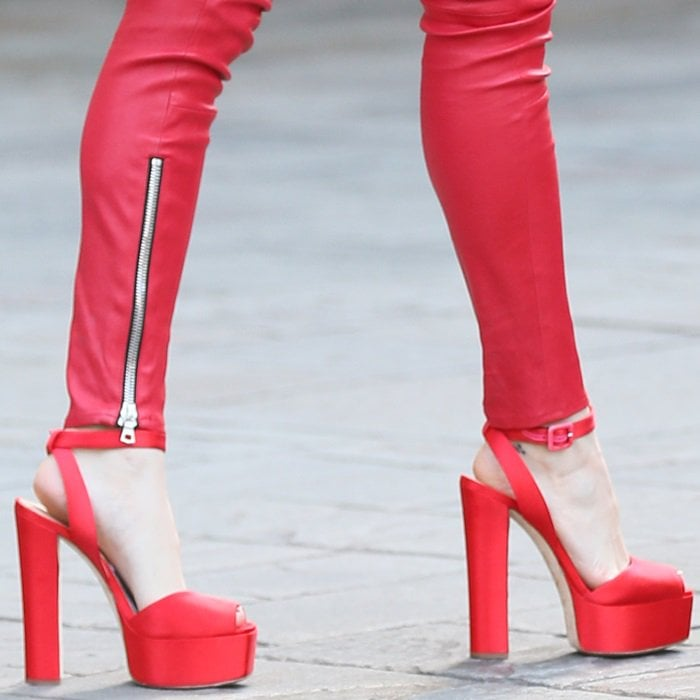 Bella Thorne's red satin Giuseppe Zanotti 'Betty' heels
