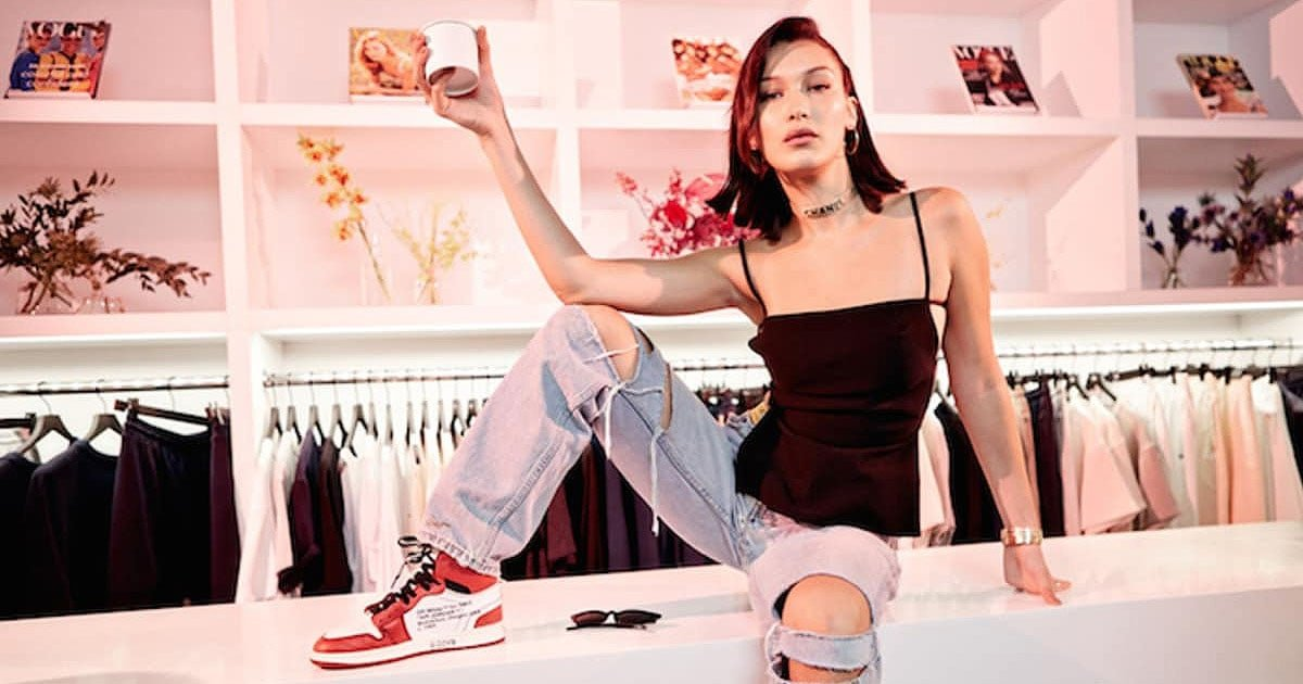 3114be5b56f Bella Hadid Champions Dad Sneakers in Dior and Balenciaga Trainers
