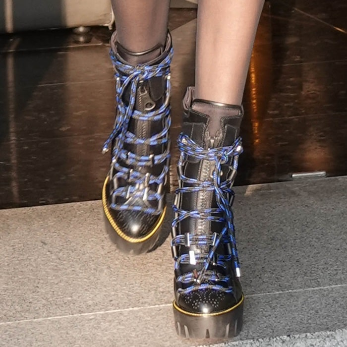 Bella Hadid wearing Dsquared2 Techno Cord Platform Boots