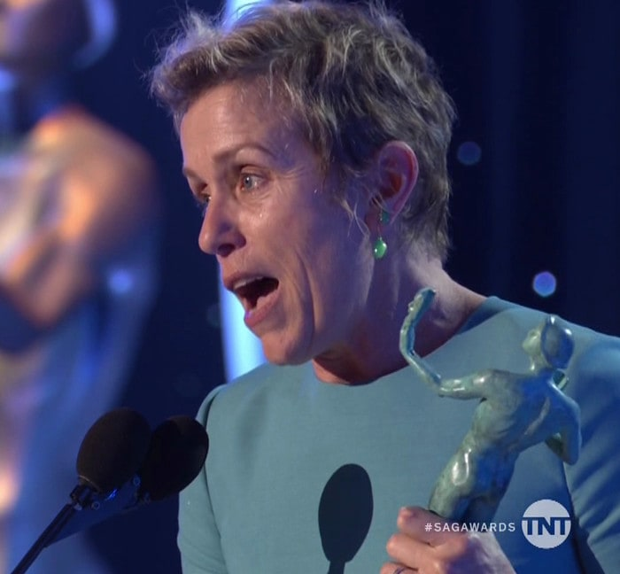 Frances McDormand accepts her award for Outstanding Performance by a Female Actor in a Leading Role