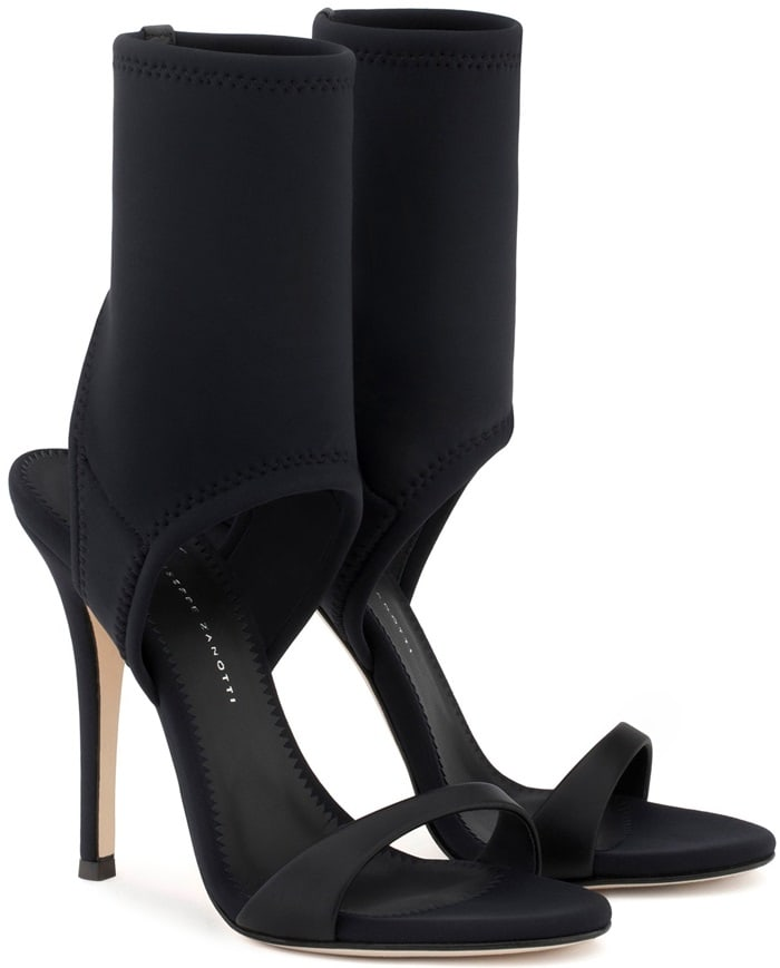 Black neoprene open-toe 'Agnes' boots