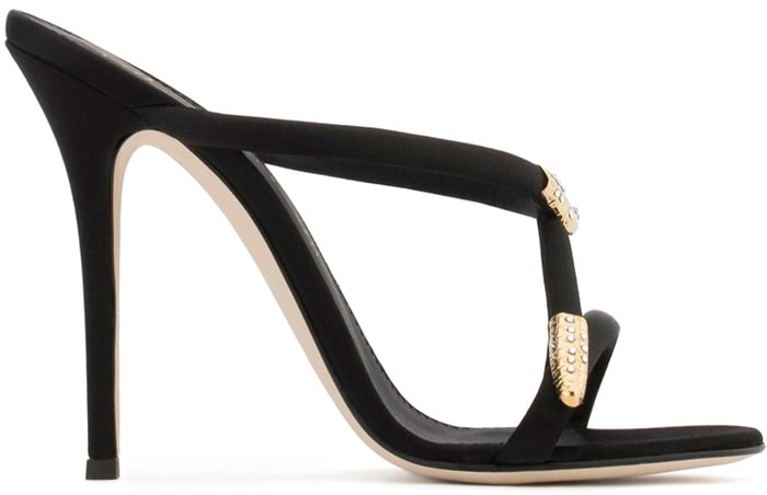 Designed with slim satin straps that coil around the foot, Giuseppe Zanotti's Aleesha mules will lend a serpentine twist to evening ensembles
