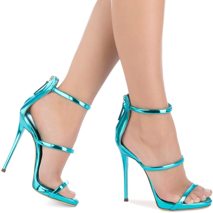 Blue patent leather sandal with three straps