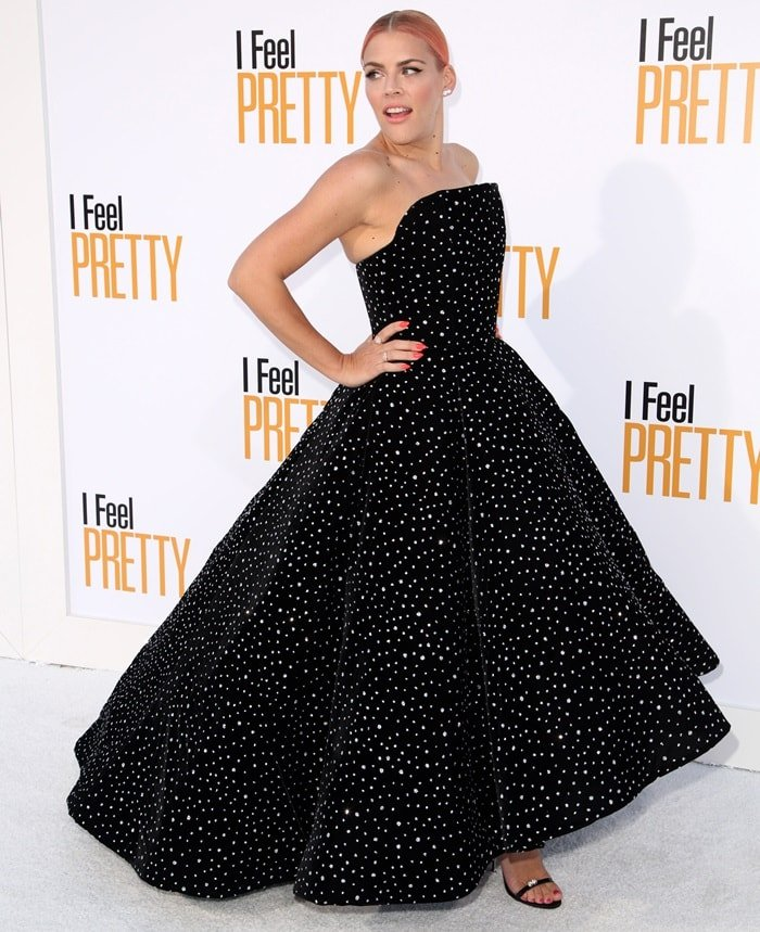 Busy Philipps dazzled ina strapless black Christian Siriano gown