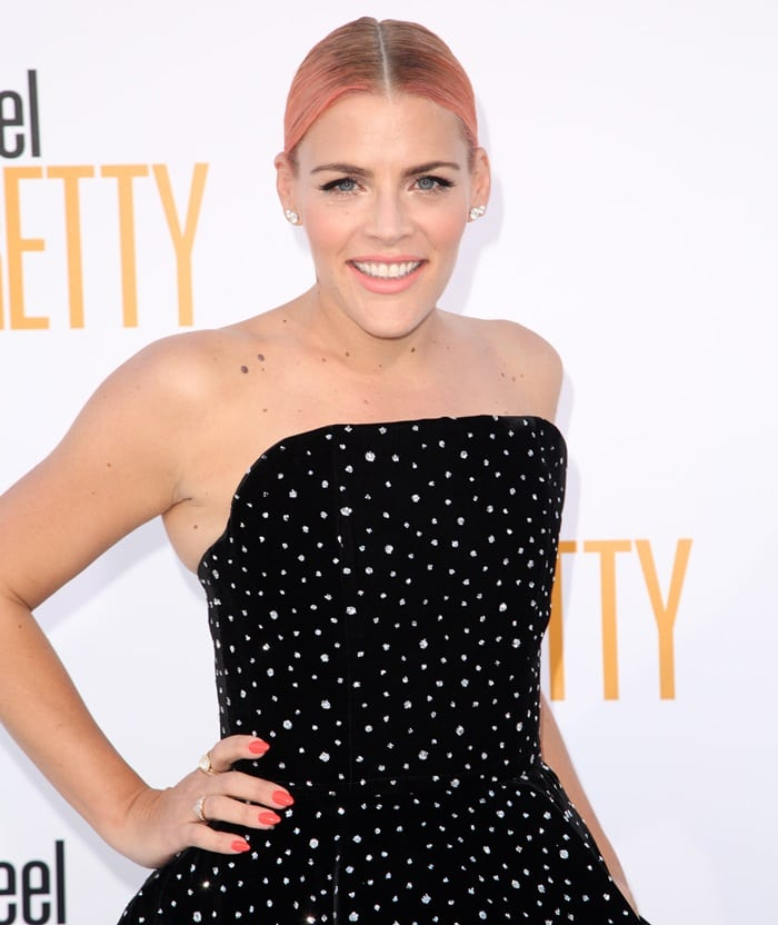 Busy Philipps wearing Norman Silverman earrings at the premiere of her new movie 'I Feel Pretty'